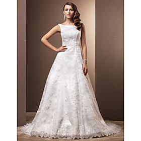 A-Line Scoop Neck Chapel Train Lace Wedding Dress with Lace by LAN TING BRIDE plus size,  plus size fashion plus size appare