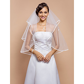 Wedding Veil Two-tier Elbow Veils Ribbon Edge 31.5 in (80cm) Tulle White A-line, Ball Gown, Princess, Sheath/ Column, Trumpet/ Mermaid thumbnail