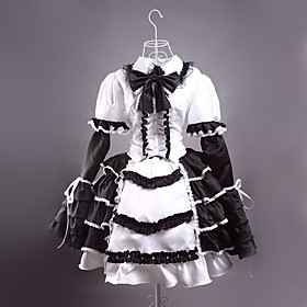 Image of One-Piece/Dress Gothic Lolita Lolita Cosplay Lolita Dress White / Black Patchwork Long Sleeve Short Length Dress For Women Satin