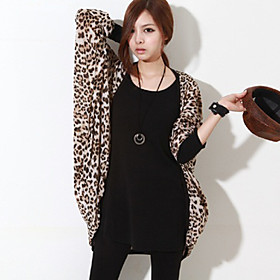 Women's Leopard Piping Cardigan