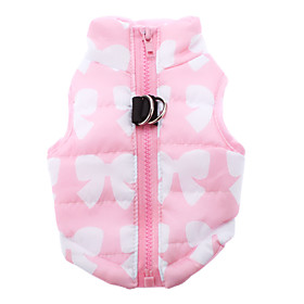 Cat / Dog Coat / Vest Yellow / Green / Blue / Pink / Rose Dog Clothes Winter Bowknot Keep Warm