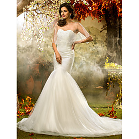 Mermaid / Trumpet Sweetheart Court Train Tulle Wedding Dress with Beading Criss-Cross Ruche by LAN TING BRIDE plus size,  plus size fashion plus size appare