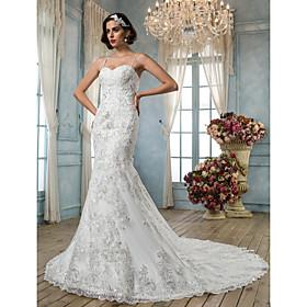 LAN TING BRIDE Trumpet / Mermaid Wedding Dress - Classic Timeless Elegant Luxurious Vintage Inspired Open Back Chapel TrainSpaghetti plus size,  plus size fashion plus size appare