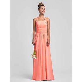 Sheath / Column Halter Floor Length Chiffon Bridesmaid Dress with Draping Ruching Ruffles Pleats by LAN TING BRIDE plus size,  plus size fashion plus size appare