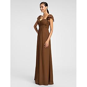 Sheath / Column Spaghetti Straps Sweetheart Floor Length Chiffon Bridesmaid Dress with Ruffles Criss Cross by LAN TING BRIDE