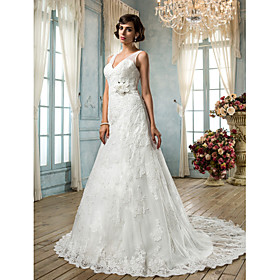 LAN TING BRIDE A-line Wedding Dress - Classic Timeless Glamorous Dramatic Vintage Inspired Open Back Sweep / Brush Train V-neck Lace plus size,  plus size fashion plus size appare
