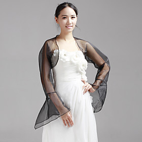 Wedding Wraps Coats/Jackets Long Sleeve Organza As Picture Shown Wedding / Party/Evening Bell Sleeves Open Front plus size,  plus size fashion plus size appare