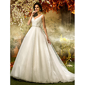 A-Line Princess V Neck Sweep / Brush Train Tulle Sequined Wedding Dress with Beading Sequin Sash / Ribbon by LAN TING BRIDE plus size,  plus size fashion plus size appare