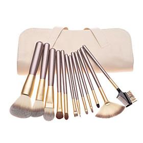 12pcs Pony hair Makeup Brushes set Coffee concealer/powder/blush brush eyeshadow/eyelash//brow/lip brush With Off-white Leather Pouch