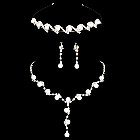 Women's Imitation Pearl Rhinestone Wedding Party Special Occasion Anniversary Birthday Engagement Gift Alloy Earrings Necklaces Tiaras