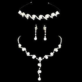 Elegant Hvit Alloy Silver belagt Pearl Tiara kjede ?redobber Wedding Bridal Jewelry Set