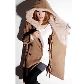 Women's Casual Woolen Hoodie Coat