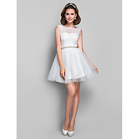 TS Couture Cocktail Dress - Short Plus Size / Petite A-line / Princess Jewel Short / Mini Lace / Tulle with Crystal Detailing / Lace plus size,  plus size fashion plus size appare