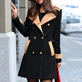 Women's Contrast Color Lapel Double Breast Coat