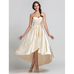 Sheath / Column Sweetheart Asymmetrical Stretch Satin Bridesmaid Dress with Beading Draping Criss Cross by LAN TING BRIDE