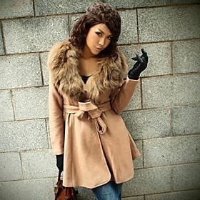 Women's Woolen Hoodie Casual Coat