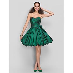 TS Couture Dress - Short A-line Princess Sweetheart Short / Mini Taffeta with Bow(s) Sash / Ribbon Criss Cross plus size,  plus size fashion plus size appare