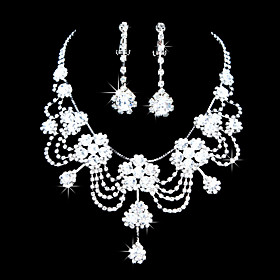 Fashion Alloy Silver belagt med Zircon Rhinestone Wedding Bridal Jewelry Set (Inkludert halskjede, ?redobber)