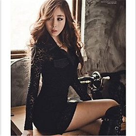 Women'S Lace Stitching Long Sleeve Bodycon Dress