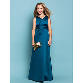 Sheath / Column V-neck Floor Length Satin Junior Bridesmaid Dress with Sash / Ribbon Criss Cross Ruching by LAN TING BRIDE