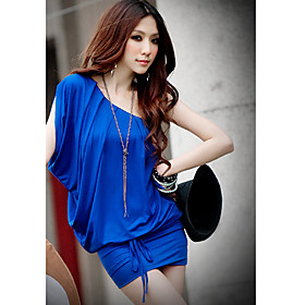 Women's ruffle sloping shoulder mini dress