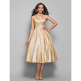 TS Couture Cocktail Party / Homecoming / Prom Dress - Elegant Plus Size / Petite A-line / Princess One Shoulder Tea-length Taffeta withSash / Ribbon plus size,  plus size fashion plus size appare
