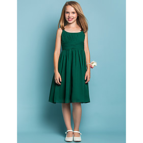 Sheath / Column Straps Knee Length Chiffon Junior Bridesmaid Dress with Draping Ruching by LAN TING BRIDE