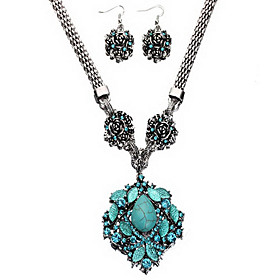 Turquoise Rose Flower Pendant Jewelry Set