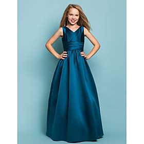 A-Line Princess V-neck Floor Length Satin Junior Bridesmaid Dress with Sash / Ribbon Criss Cross by LAN TING BRIDE
