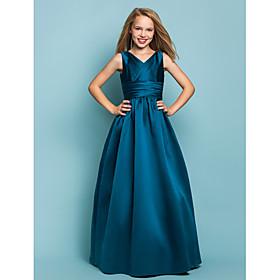 A-Line Princess V Neck Floor Length Satin Junior Bridesmaid Dress with Sash / Ribbon Criss Cross by LAN TING BRIDE