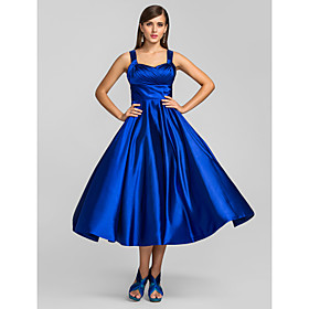 TS Couture Cocktail Party / Homecoming / Prom Dress - 1950s / Vintage Inspired Plus Size / Petite A-line / Princess Straps Tea-length Stretch Satin plus size,  plus size fashion plus size appare