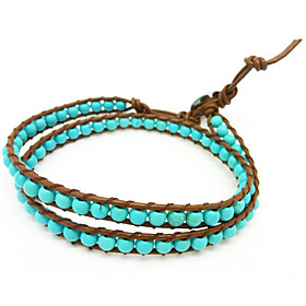 Vintage Style Friendship Weaving PU Leather 2 Wrap Bracelet With Turquoise (CLJ-B-167)
