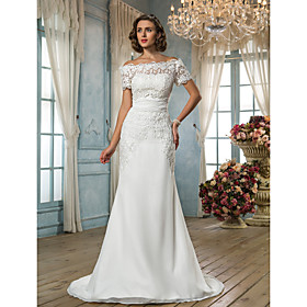 Lanting Bride Trumpet / Mermaid Petite / Plus Sizes Wedding Dress - Classic Timeless / Glamorous Dramatic Vintage InspiredSweep / plus size,  plus size fashion plus size appare
