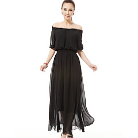 Women's Off The Shoulder Puff Sleeve Maxi Dress