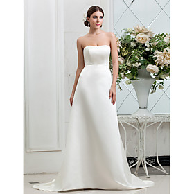A-Line Strapless Sweep / Brush Train Satin Wedding Dress with Button by LAN TING BRIDE plus size,  plus size fashion plus size appare