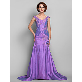 Mermaid / Trumpet V Neck Sweep / Brush Train Taffeta Dress with Beading Appliques Criss Cross by LAN TING BRIDE