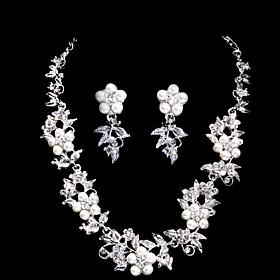 Sjarmerende Alloy Silver belagt med Zircon Rhinestone Pearl Wedding Bridal Jewelry Set (Inkludert halskjede, ?redobber)