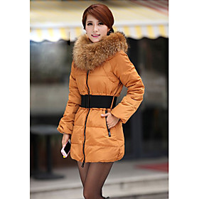 Women's Real Fur Collar Clip Cotton Tulip Coat With Belt