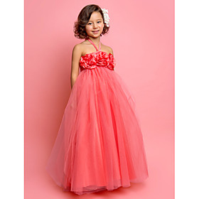 A-Line Princess Floor Length Flower Girl Dress - Tulle Sleeveless Halter with Flower by LAN TING BRIDE