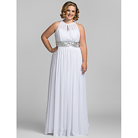 Sheath / Column Illusion Neck Floor Length Chiffon Cocktail Party / Prom / Formal Evening Dress with Sequin / Crystals / Draping by TS plus size,  plus size fashion plus size appare
