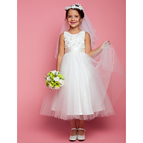 A-Line Tea Length Flower Girl Dress - Satin Tulle Sleeveless Jewel Neck with Beading by LAN TING BRIDE
