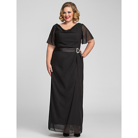 Plus Size Sheath/Column Cowl Chiffon Evening/Prom Dress