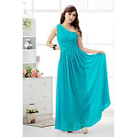 Holiday Lady  One Shoulder Long Chiffon Formal Dress