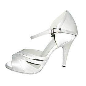 Customizable Women's Dance Shoes Latin/Ballroom Satin Customized Heel White