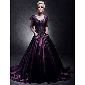 A-Line V Neck Court Train Taffeta Formal Evening Dress with Beading by TS Couture plus size,  plus size fashion plus size appare