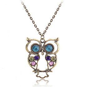 Vintage Colorful Owl Pendant Necklace