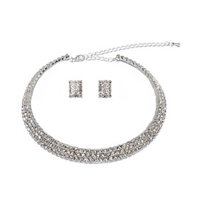 Bright Alloy Silver belagt med Rhinestone Wedding Bridal Jewelry Set