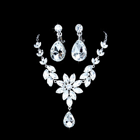 Unik Alloy Silver belagt med Clear Rhinestone Wedding Bridal Jewelry Set (Inkludert halskjede, ?redobber)