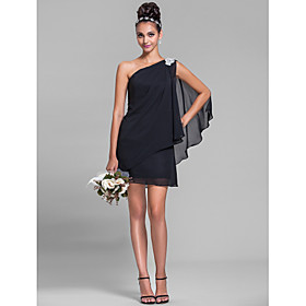 Sheath / Column One Shoulder Short / Mini Chiffon Bridesmaid Dress with Crystal Detailing Side Draping by LAN TING BRIDE plus size,  plus size fashion plus size appare