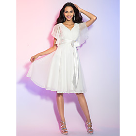 TS Couture Cocktail Party Homecoming Graduation Holiday Dress - Short A-line Princess V-neck Knee-length Chiffon withBow(s) Crystal plus size,  plus size fashion plus size appare